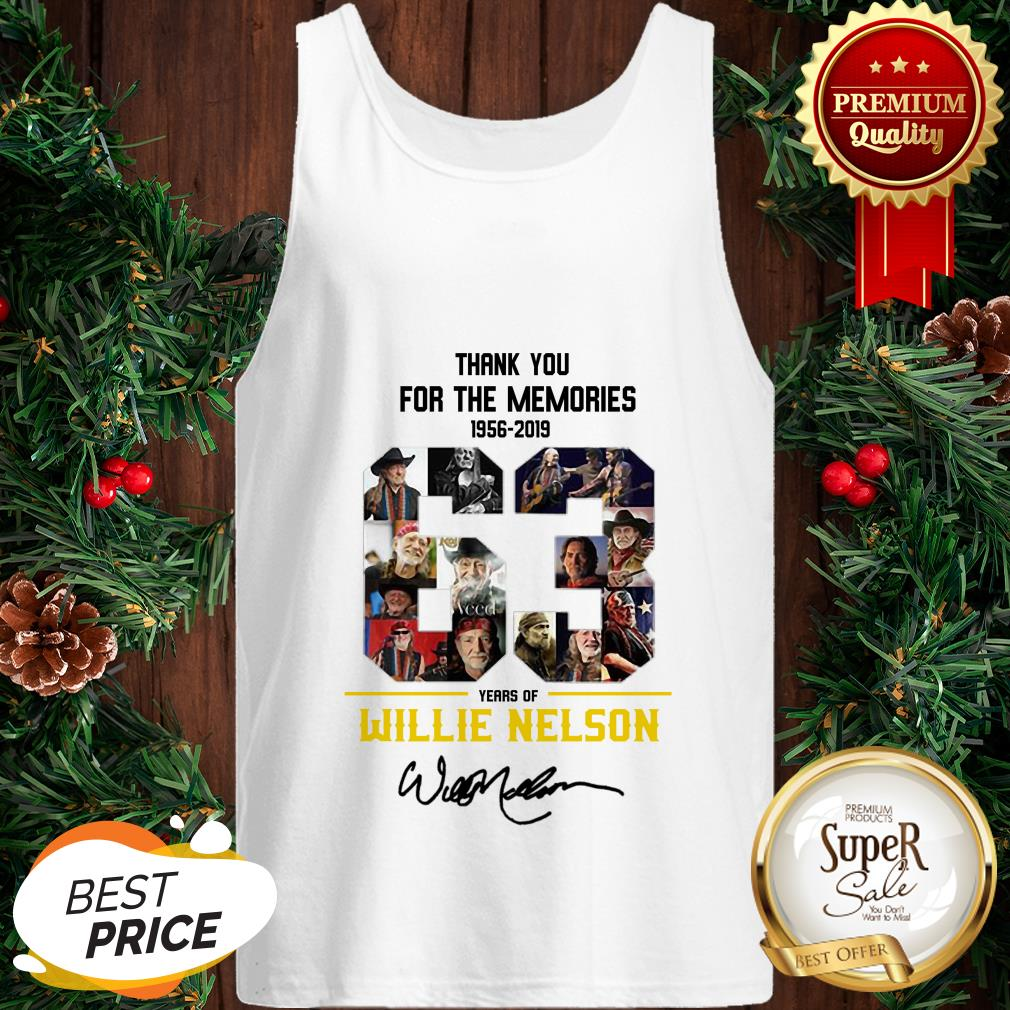 63 Years Of Willie Nelson 1956-2019 Signatures Thank You For The Memories Tank Top