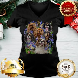 Cavalier King Charles Spaniel Purple Flowers V-neck