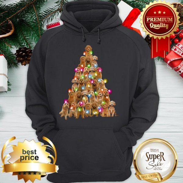 Goldendoodle Dog Lights Christmas Tree Hoodie