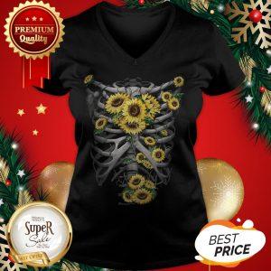 Official Skeleton Bones Sunflowers V-neck