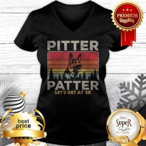 Pitter Patter Let's Get At 'Er German Shepherd Vintage V-neck