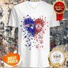 Nice Love New England Patriots Boston Red Sox Logo Tiny Hearts Shape V-neck
