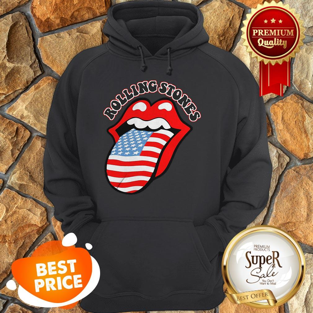 USA Tongue Rolling Stones American Flag Hoodie