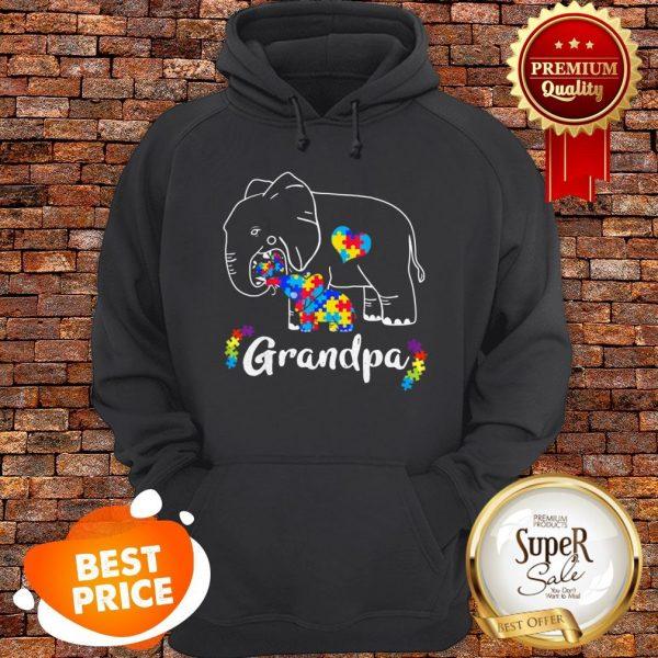 Nice Autism Awareness Support Grandpa Elephant Gift Hoodie
