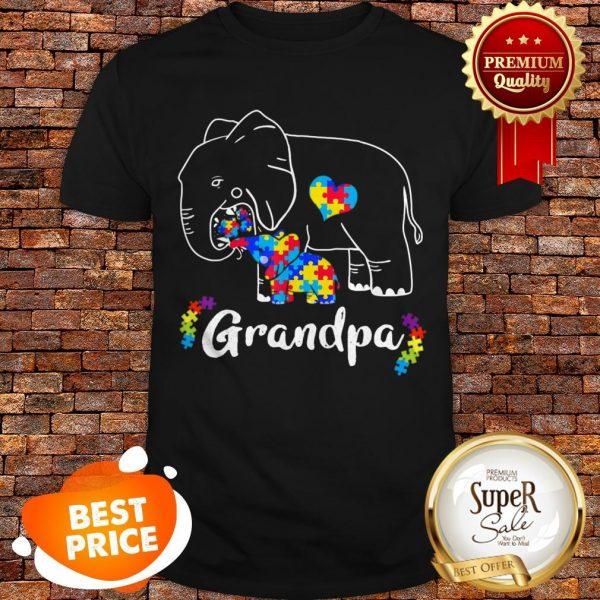 Nice Autism Awareness Support Grandpa Elephant Gift Shirt