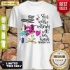 Awesome She Works Willingly With Her Hand Proverbs American Flag Shirt