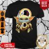 Cute Baby Yoda Face Mask Hug Washington Redskins I Can't Stay At Home Shirt