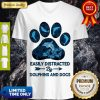 Top Dog Paw Dolphins Easily Distracted By Dolphins And Dogs V-neck