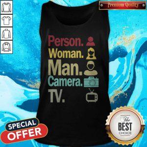 Cognitive Test Person Woman Man Camera TV Funny Trump Tank Top