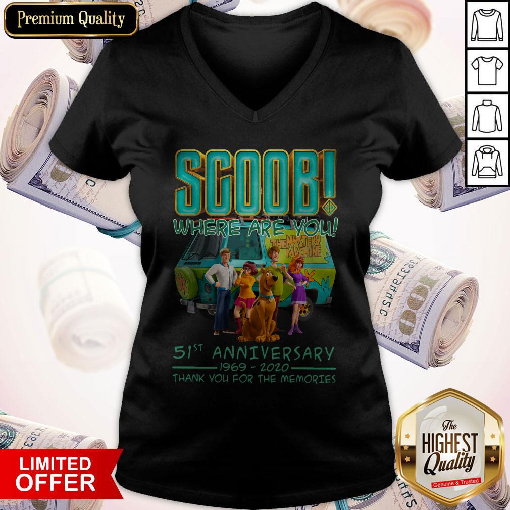 Scoob Where Are You 51st Anniversary 1969 2020 Thank You For The Memories V-neck