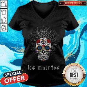 Halloween Skull Wiry Burst Behind Day Dead Dia De Los Muertos V-neck