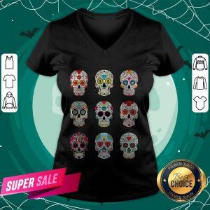 Mexican Sugar Skulls Dia De Muertos Day Of The Dead V-neck