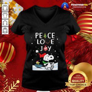 Cute Merry Christmas Peanuts Snoopy Peace Love Joy Sweat V-neck - Design By Togethertee.com