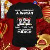 Funny Never Underestimate A Woman Who Loves Cats Santa And Was Born In March Shirt - Design By Togethertee.com