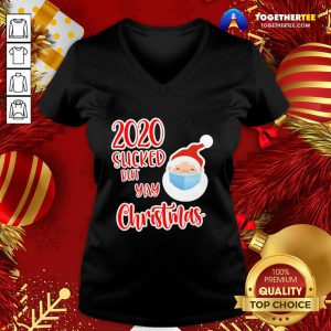 Santa Face Mask Soap 2020 Sucked But Yay Christmas 2020 V-neck - Design By Togethertee.com