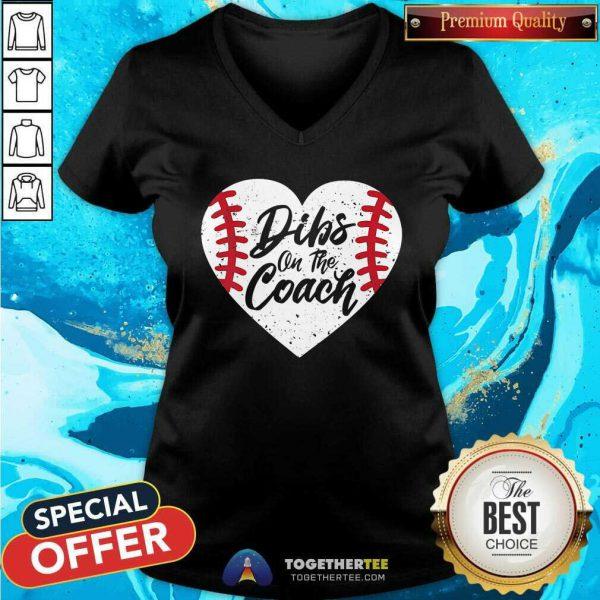 Pretty Dibs On The Coach Baseball Heart V-neck